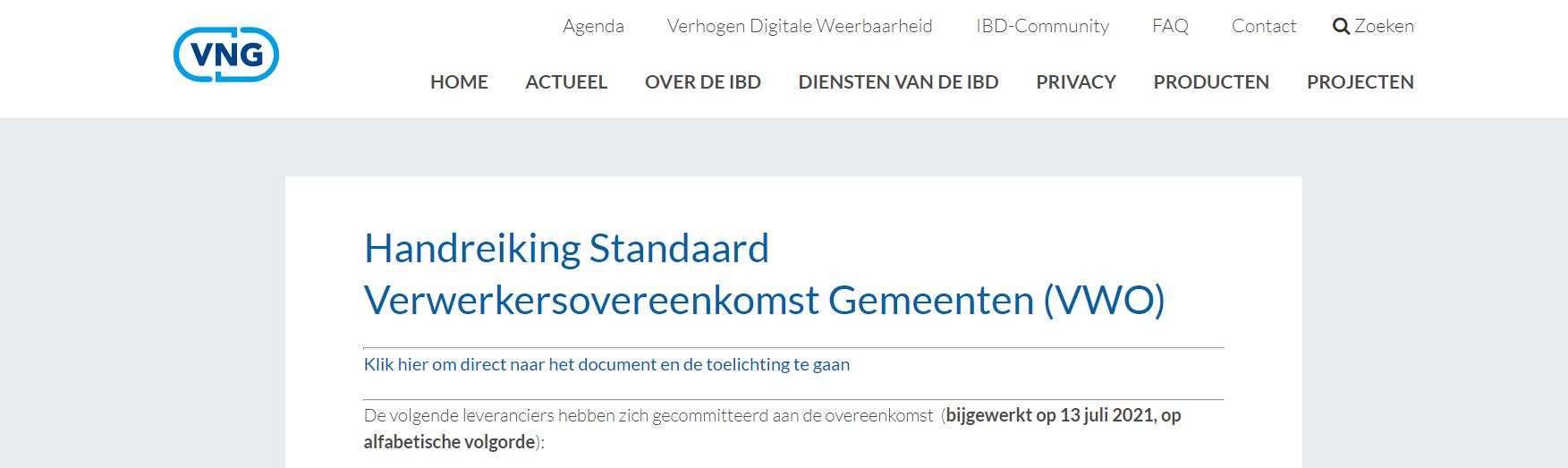 Screenshot VNG Verwerkersovereenkomst gebruikers
